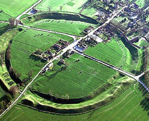 Aerial view of Avebury in Wiltshire. The surrounding 'Henge' is a quarter of a mile in diameter.