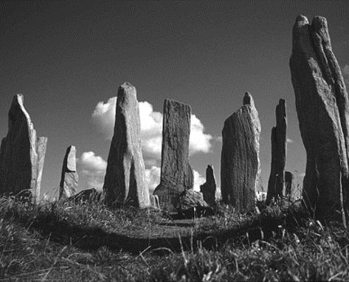 Callanish I on the Isle of Lewis, in the Hebrides, off Western Scotland. The stone in the centre is over 16ft tall.