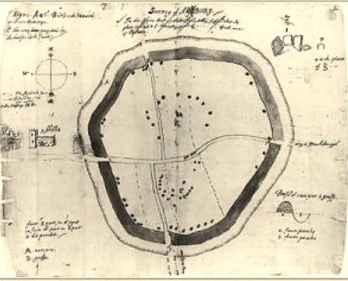 Aubrey's ground plan of Avebury, 1663