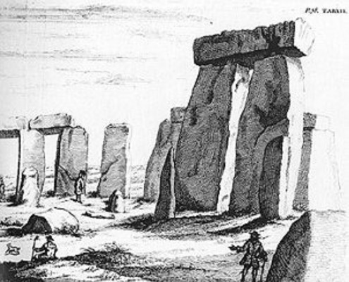 Stukeley's sketches of Stonehenge, and a now lost stone circle at Overton Hill, Wiltshire, circa 1724.