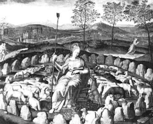St. Genevieve, portrayed in a stone circle, circa. 1590