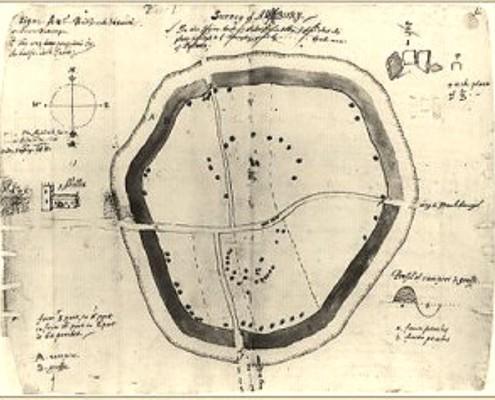 Aubrey's ground plan of Avebury, 1663